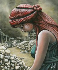 Roma-Rovine-guerra-colosseo-2050-quadro-su-tela